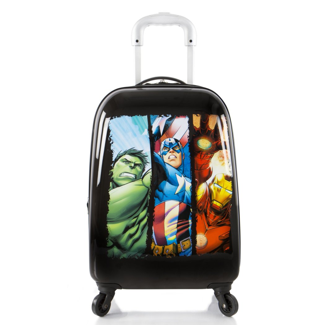 Kids Black Marvel Avengers Theme Wheeled Upright Rolling Suitcase Superheroes Iron Man Captain America Hulk Carry Travel Suit Bag Wheels Wheeling - Diamond Home USA