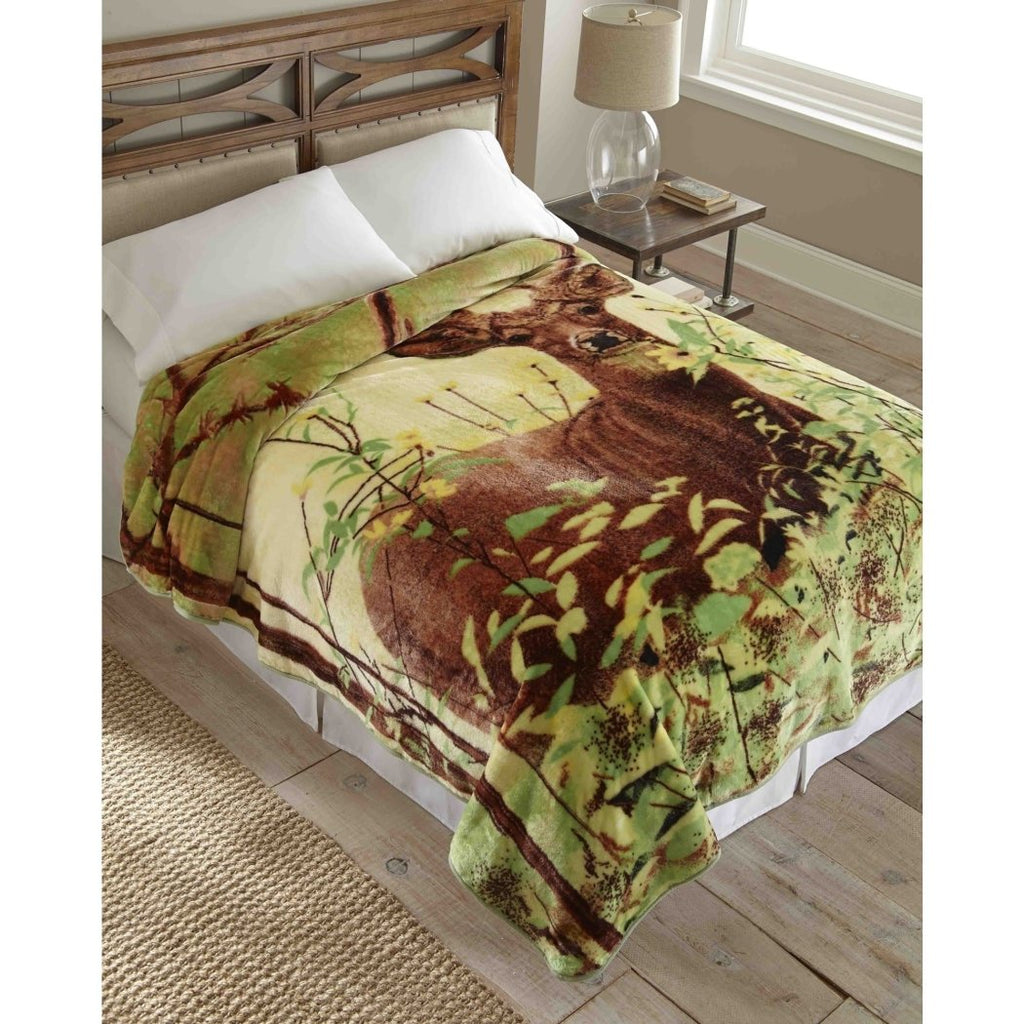Wildlife Deer Themed Blanket Oversized Hunting Bedding Outdoors Wild Game Nature Animal Pattern Log Cabin Lodge Cottage Polyester