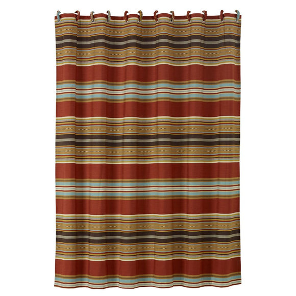 Southwestern Shower Curtain Horizontal Striped Shower Curtain Luxe Gold Red Blue Mexican Native Western Country Bath Polyester Brown Striped Shower - Diamond Home USA