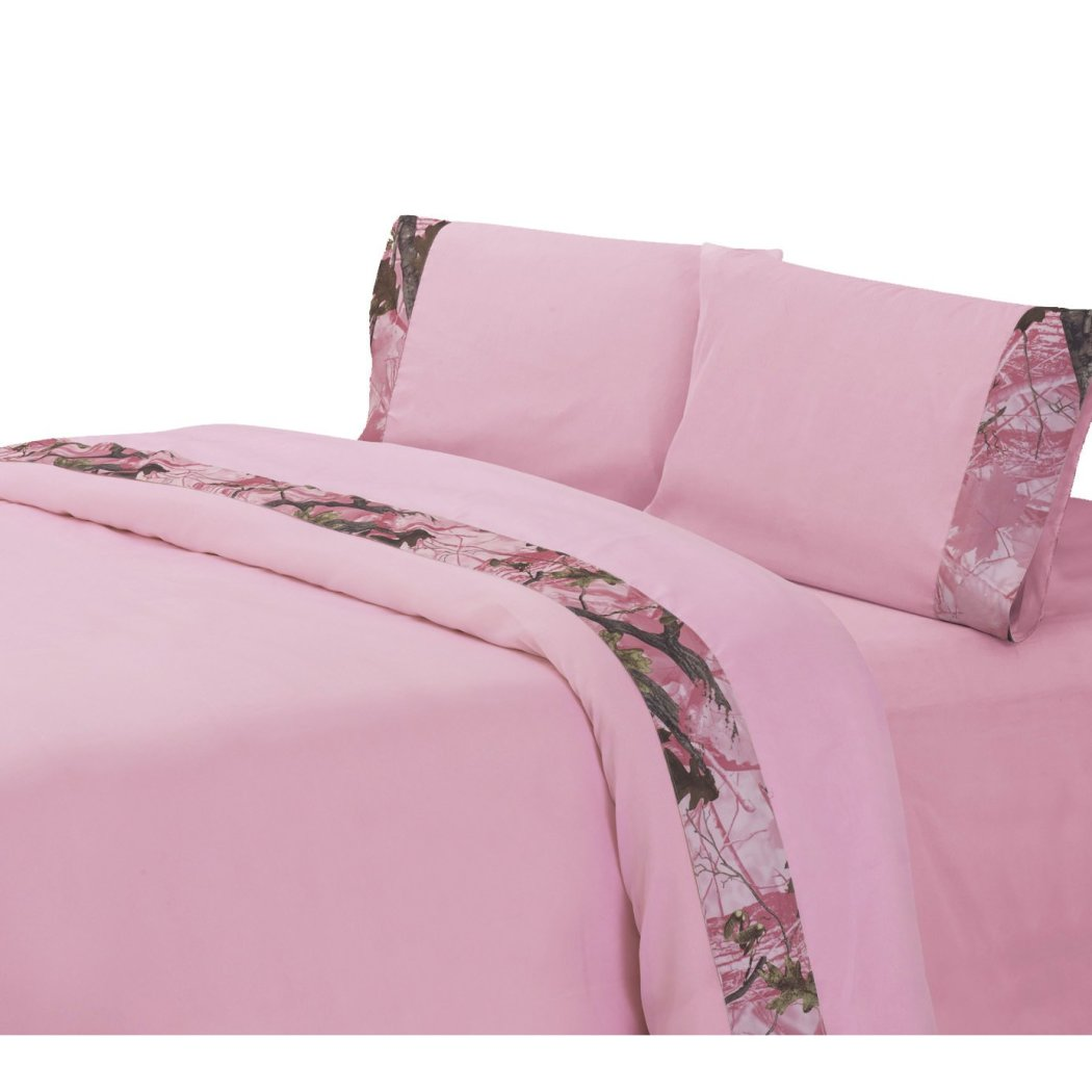 Girls Camouflage Sheets Set Girly Camo Themed Bedding Hunting Pattern Country Leaves Bush Outdoors Hu