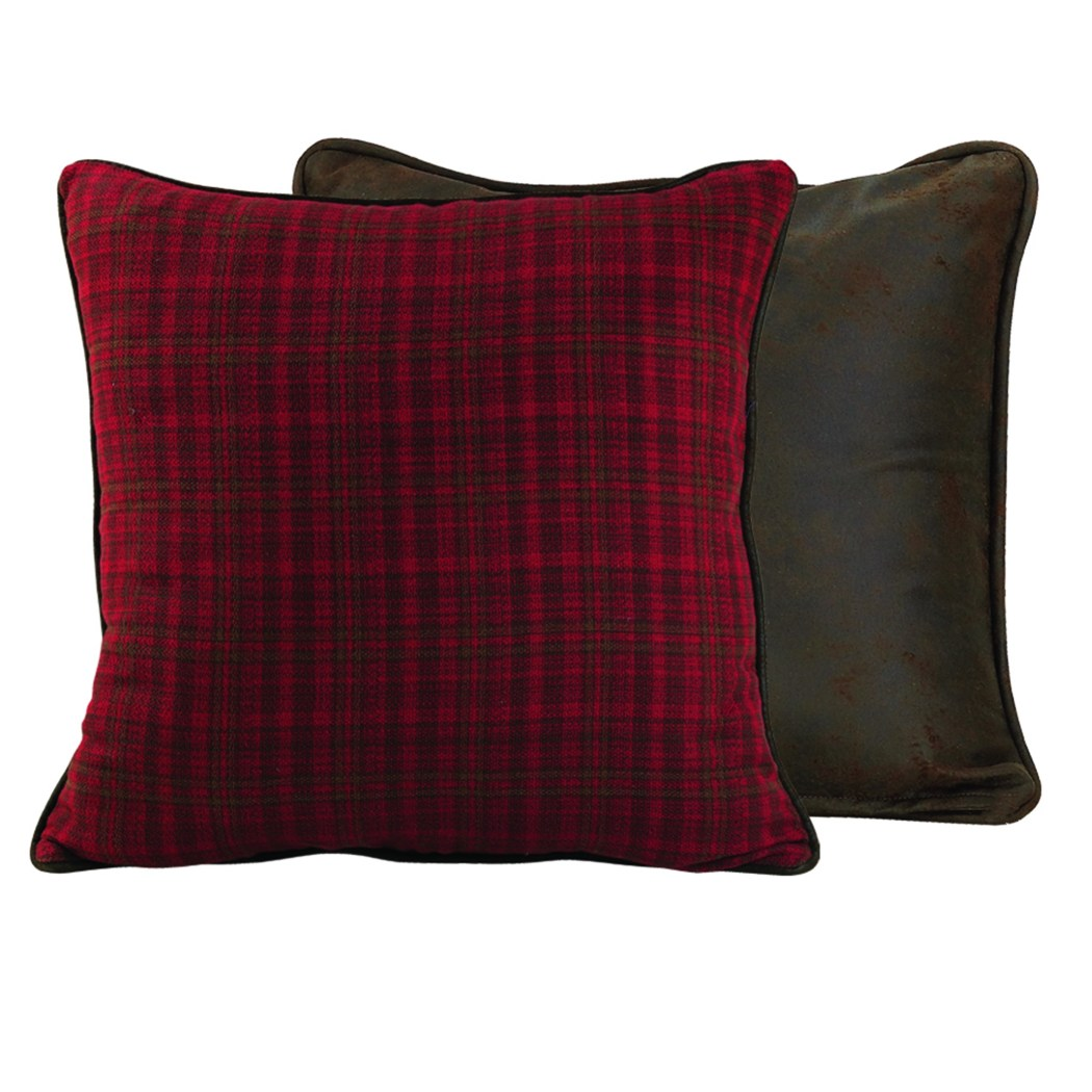 "Red Grey Lodge Plaid Euro 27""x27"" Elegant Classic Gingham Checkered Luxury Throw Pillow Bold Check Design Cabin Casual Large Sofa Cushion Solid Colors - Diamond Home USA"