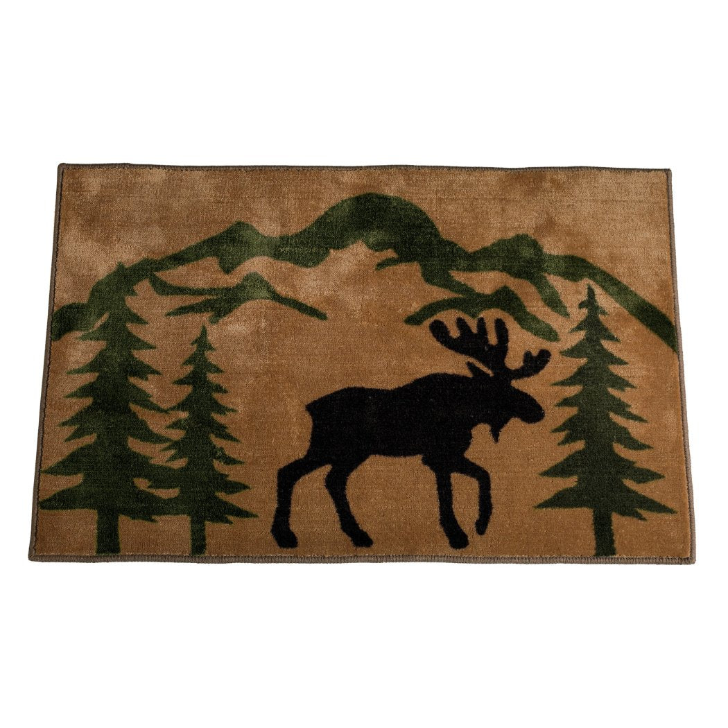 2'x3' Brown Black Green Deer Wildlife Printed Runner Rug Indoor Animal Pattern Living Room Rectangle Carpet Southwest Cabin Themed Soft Acrylic - Diamond Home USA