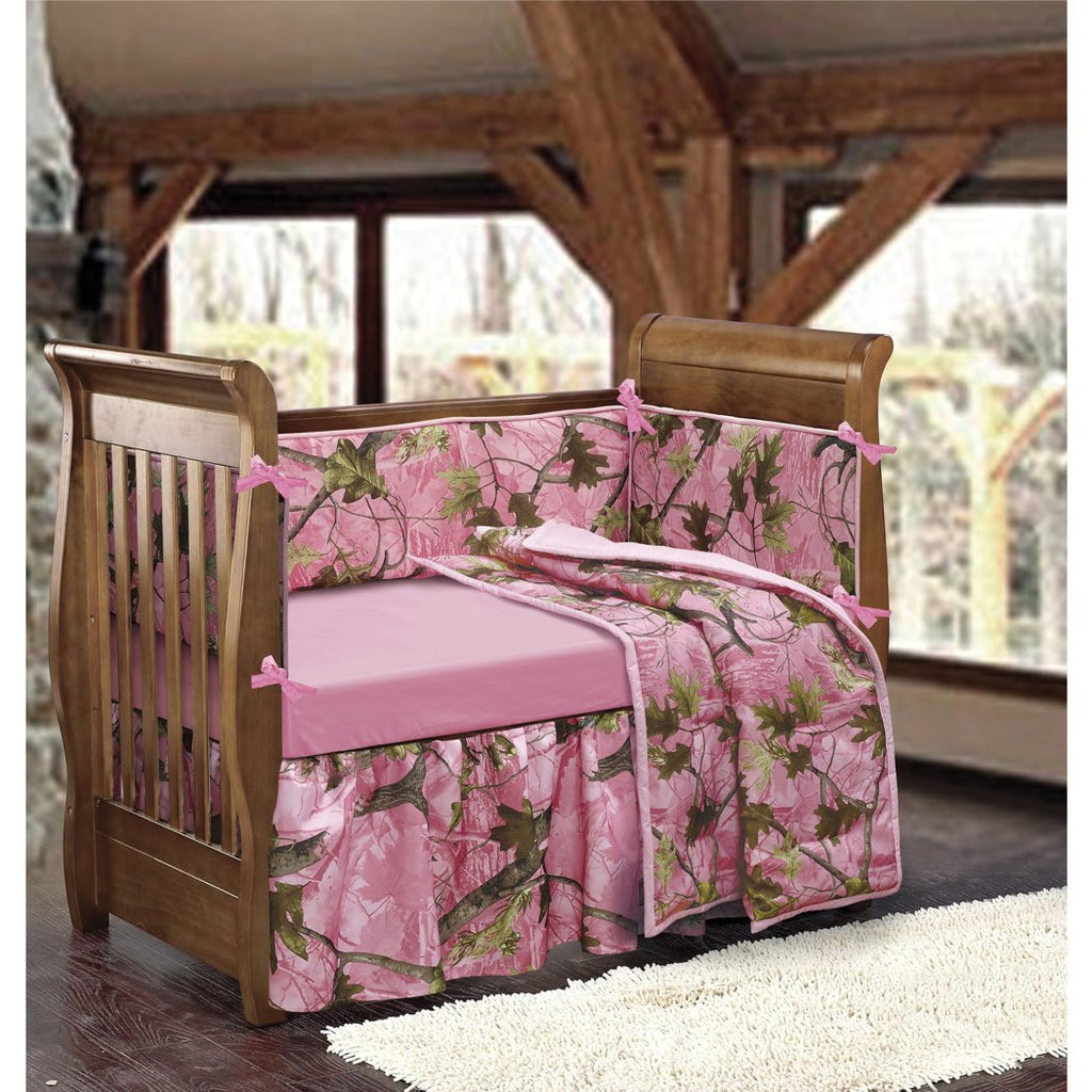 Pink Camo Crib Bedding Set Girls Cute Camouflage Hunting Themed Baby Nursery Collection Leafy Oak Prints Forest Trees Design Stylish & Pretty - Diamond Home USA
