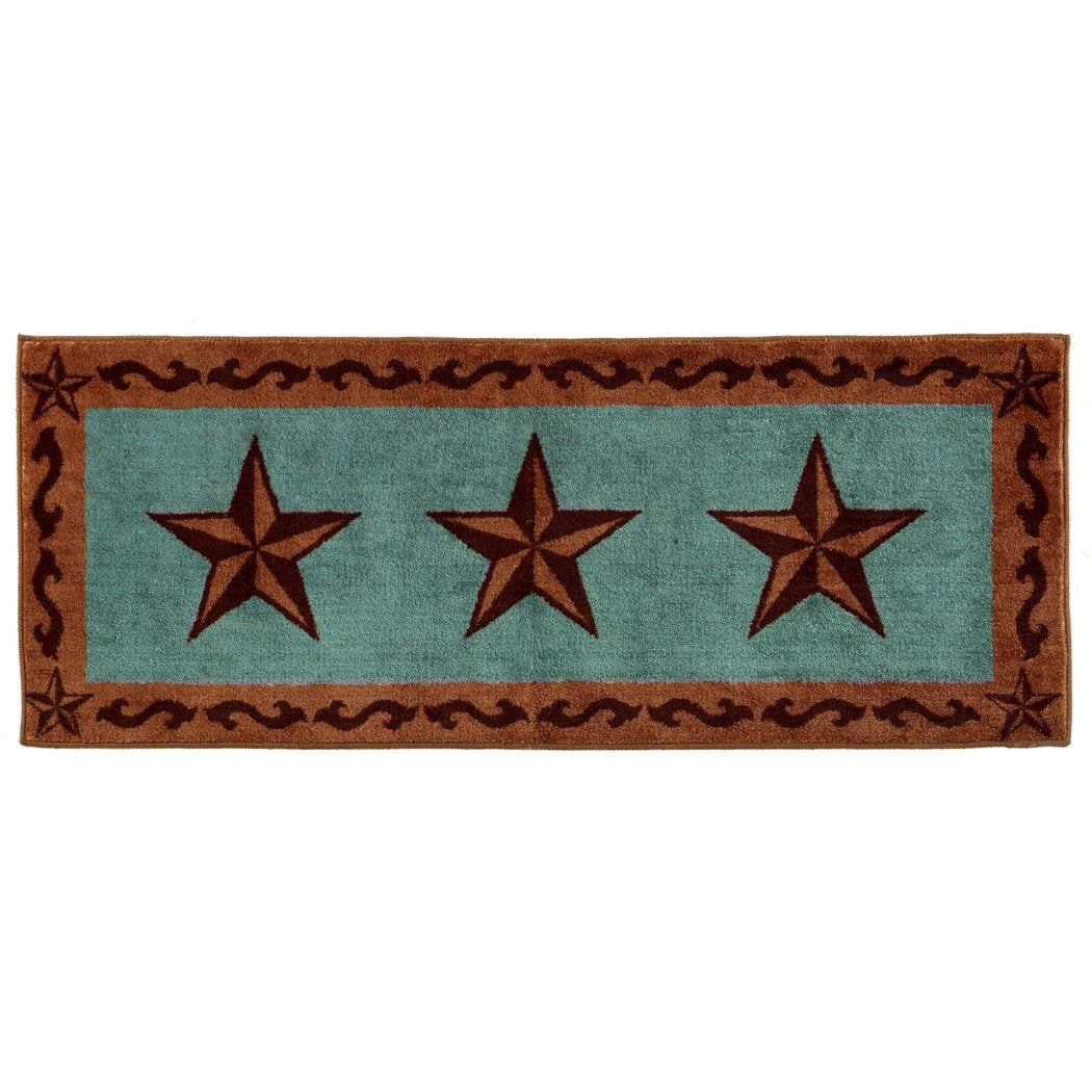 HiEnd Accents Western Star Rug 24 by 60 Inch Turquoise - Diamond Home USA