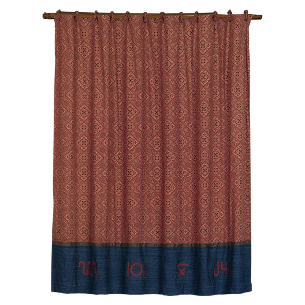 Southwestern Shower Curtain Horizontal Stripes Geometric Red Tan Blue Mexican Native Western Country Bath Polyester - Diamond Home USA