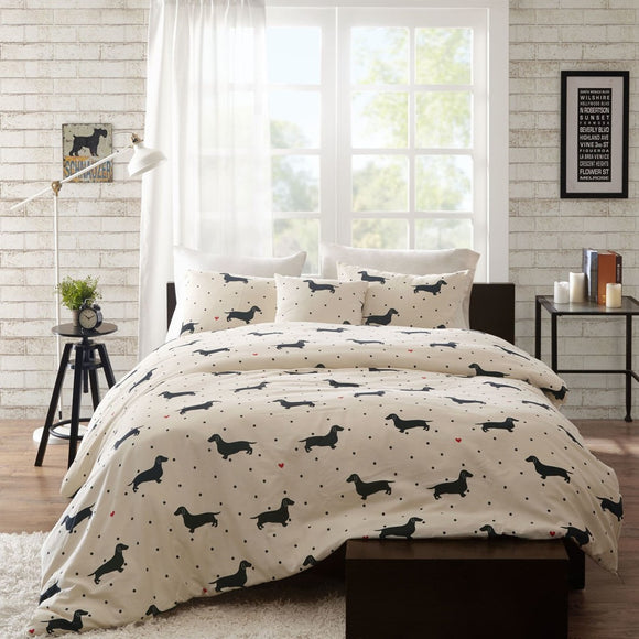 Trendy Duvet Cover Set Animal Themed Bedding Dog Modern Shabby Fun Daschund Chic Puppy Cute Adorable Contemporary Casual
