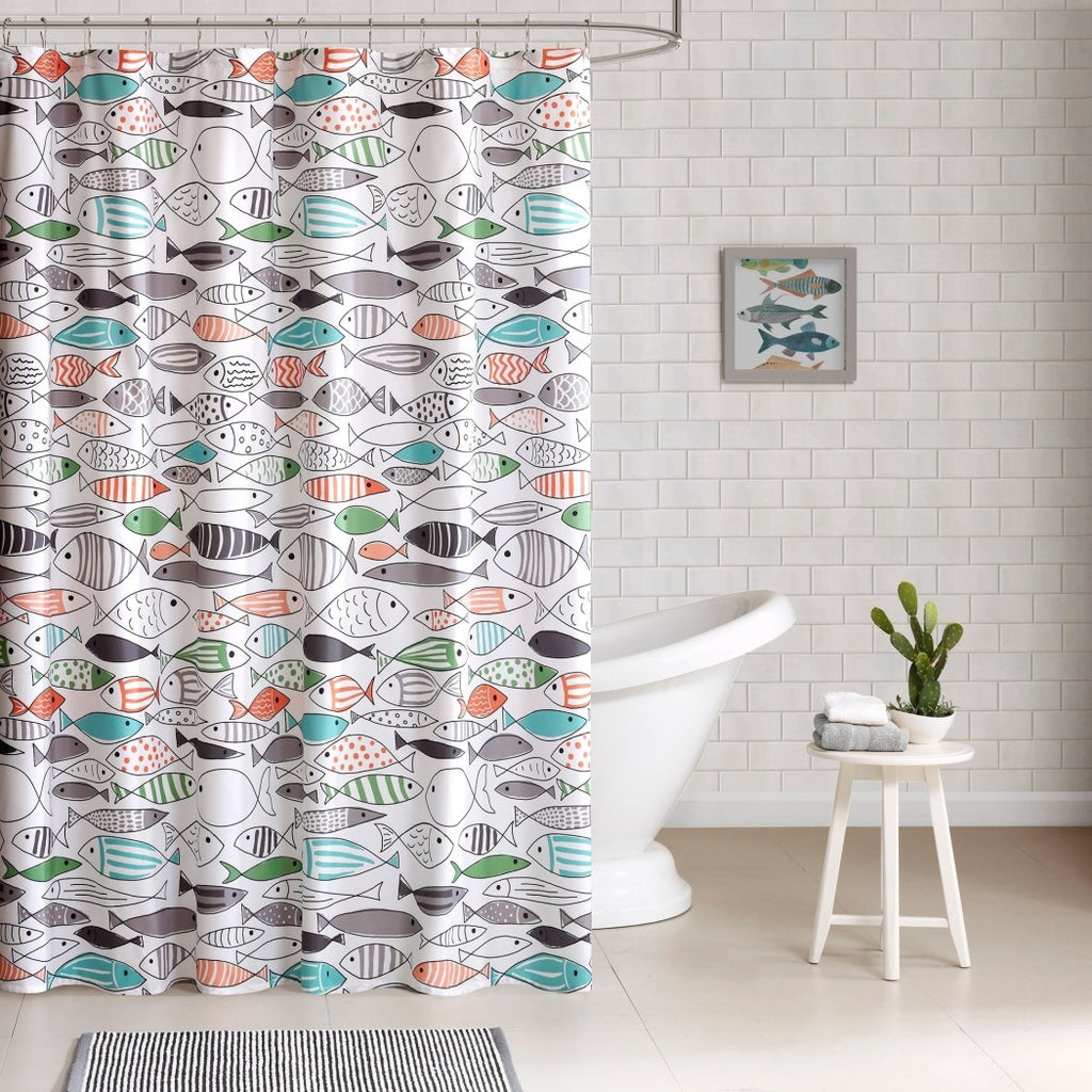 Kids Color Coastal Graphic Pattern Shower Curtain Abstract Themed All Seasons Fish Graffiti Cotton Color Fish Printed - Diamond Home USA