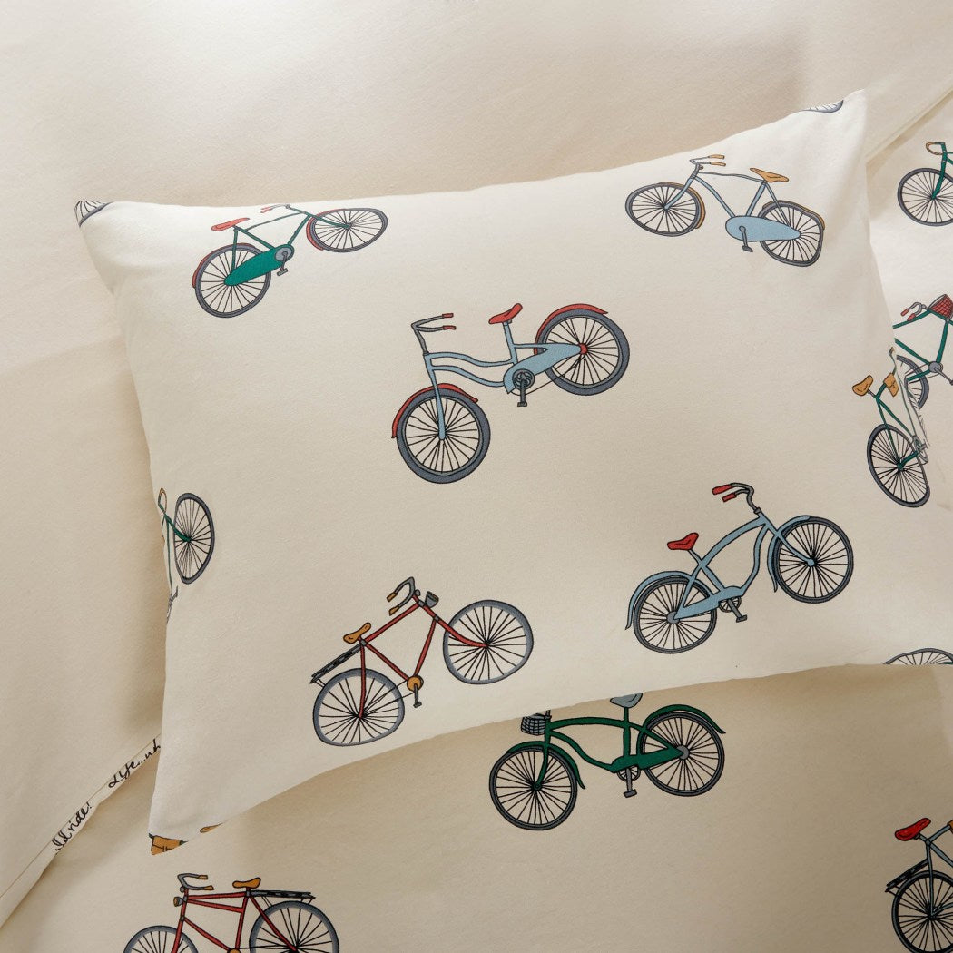 Bicycle Themed Duvet Cover Set Two Wheel Classic Bike Pattern Bedding Novelty Bikes Vintage Retro Indie Red