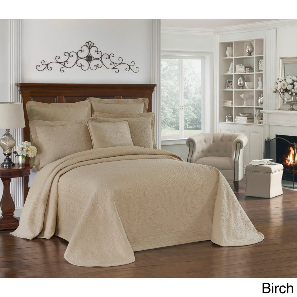 Birch Floral Oversized Bedspread Motif Medallion Pattern Floor Oversize Bedding Extra Long Wide Drapes Over Edge Drops Down Shabby Chic