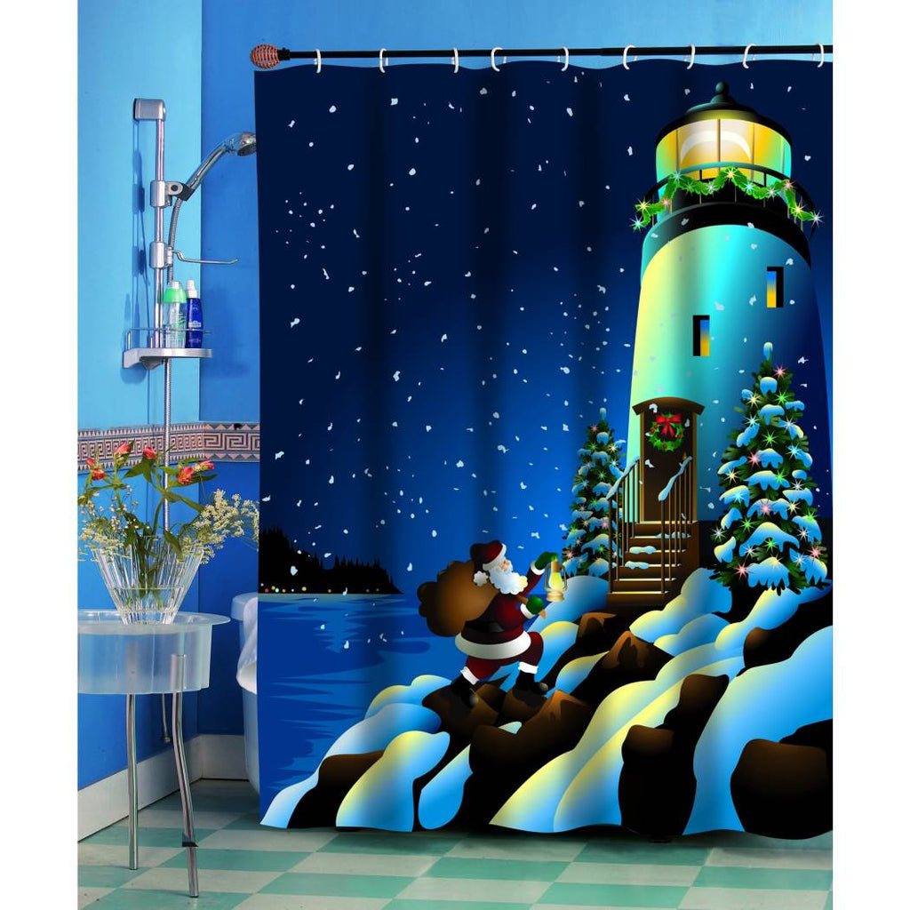 Kids Navy Blue Holiday Christmas Themed Shower Curtain Polyester Detailed Graphic Art Pattern Lighthouse Snowflakes Santa