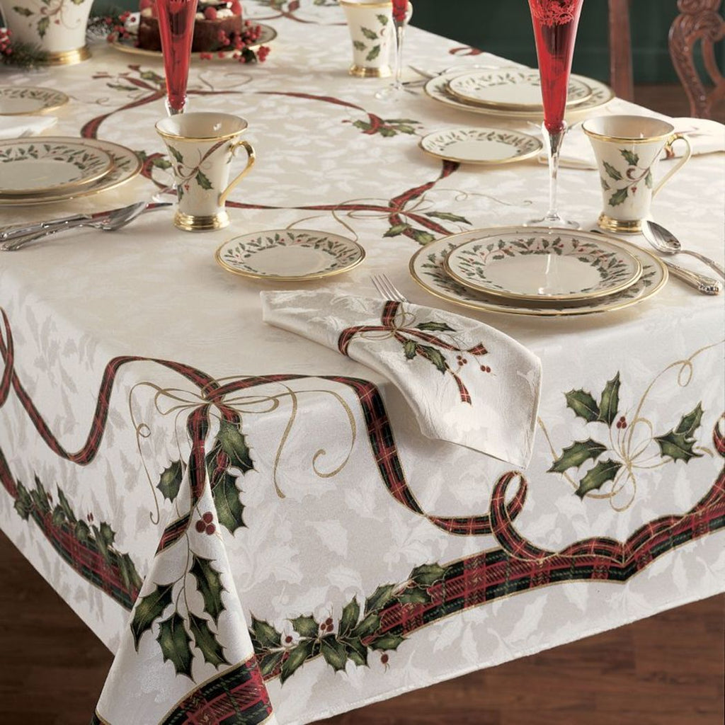 Floral Plaid Design Tablecloth Flower Leaf Printed Border Checkered Christmass Holiday Fall Rectangle Large Dining Table Cover