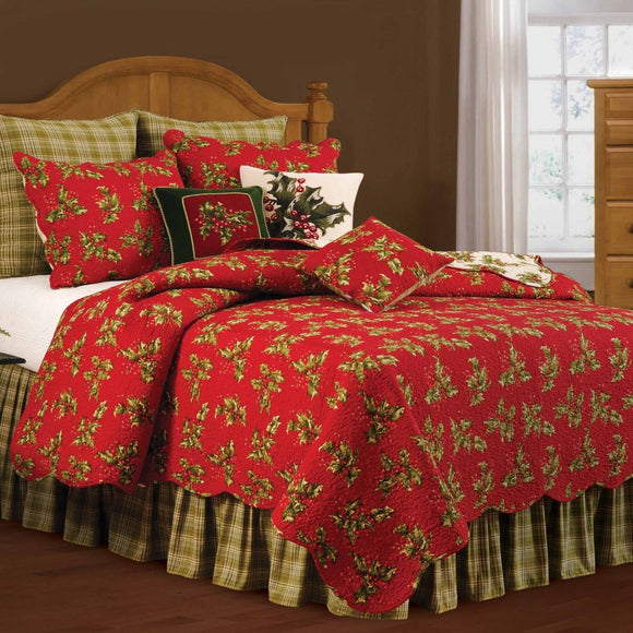Hollies Floral Quilt Bohemian Shabby Chic Pattern Country Traditional Vintage Festive Holiday Adult Bedding Master
