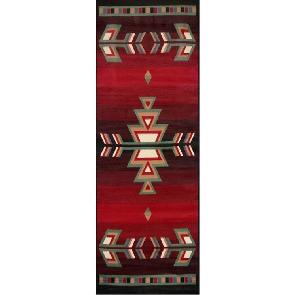 "1'9""x7'2"" Red Aztec Tribal Diamonds Printed Area Rug Indoor Geometric Pattern Living Room Rectangle Carpet Native American Themed Vibrant Color Soft - Diamond Home USA"