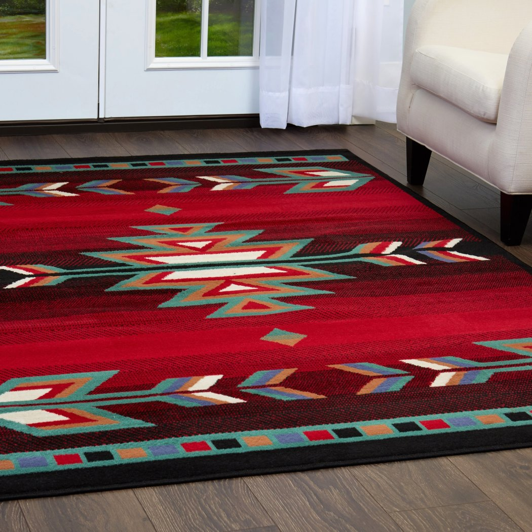 "21""X35"" Red Aztec Tribal Diamond Printed Accent Rug Indoor Graphical Pattern Living Room Rectangle Carpet Traditional Southwest Themed Soft Synthetic - Diamond Home USA"