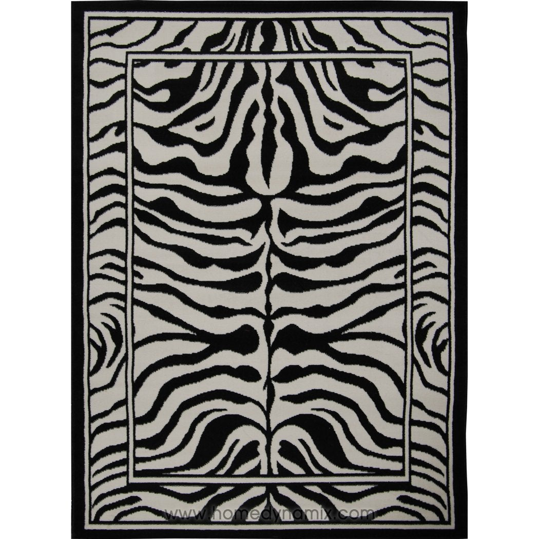 "1'9""x2'11"" Black Grey Zebra Stripes Printed Area Rug Indoor Graphical Pattern Living Room Rectangle Carpet Africa Themed Soft Synthetic Exotic Jungle - Diamond Home USA"