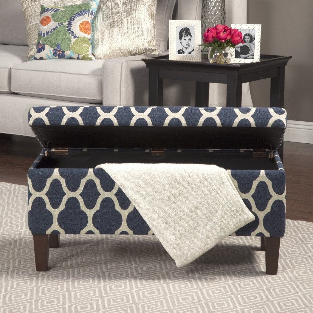 HomePop Large Decorative Storage Ottoman Navy Blue - Diamond Home USA