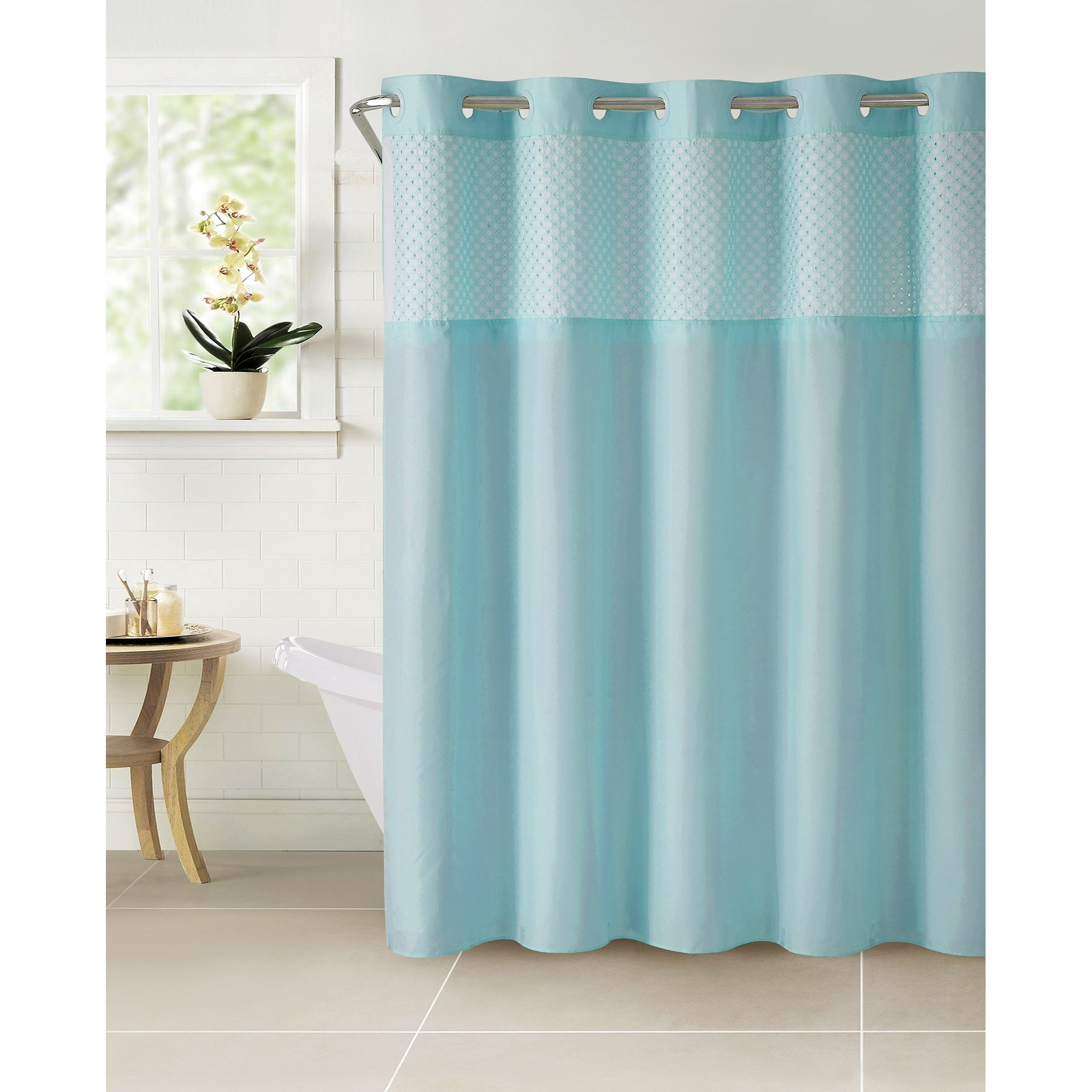 Hookless® Shower Curtain Bahama Eyelet Crystal Blue Embroidered Victorian Polyester - Diamond Home USA