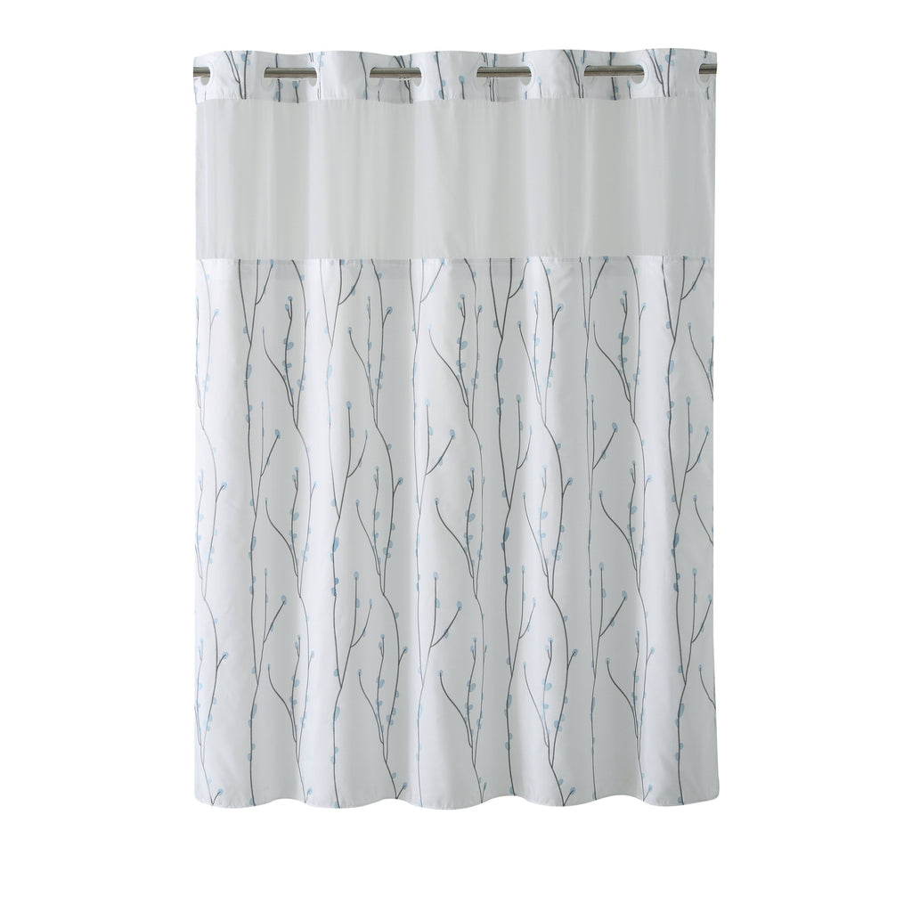 Hookless® Shower Curtain Cherry Bloom White blue Blue Embroidered Victorian Polyester - Diamond Home USA