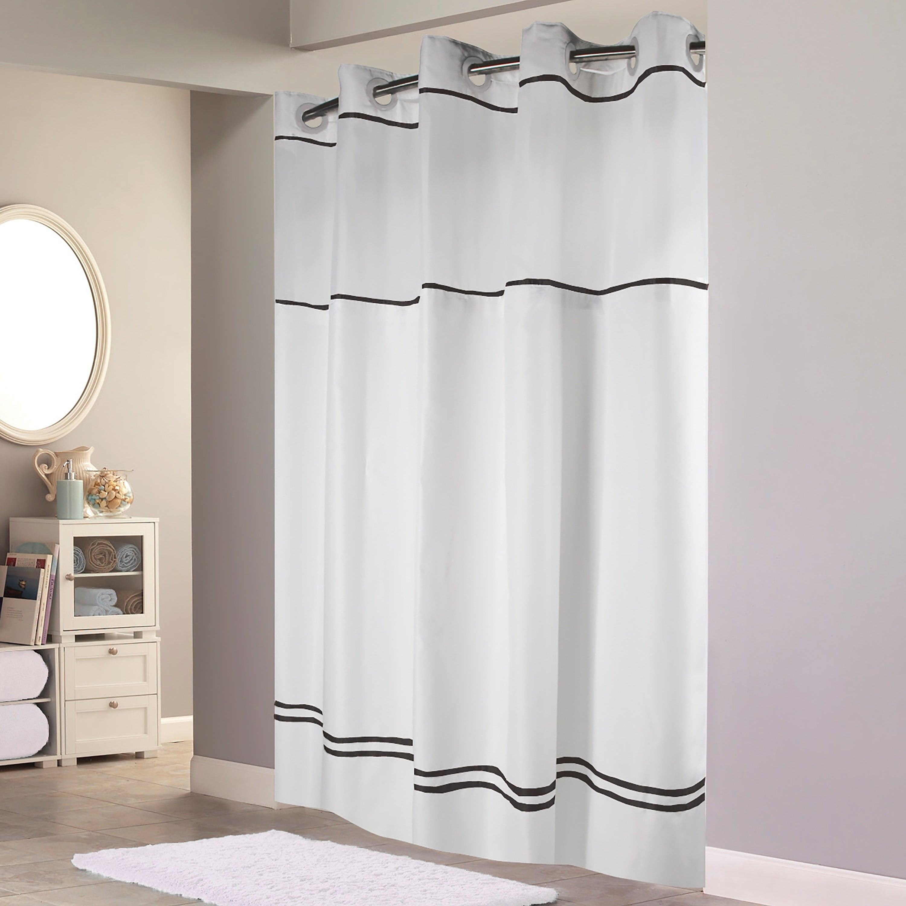 Hookless® Shower Curtain Monterey White/black Black Striped Victorian Polyester - Diamond Home USA