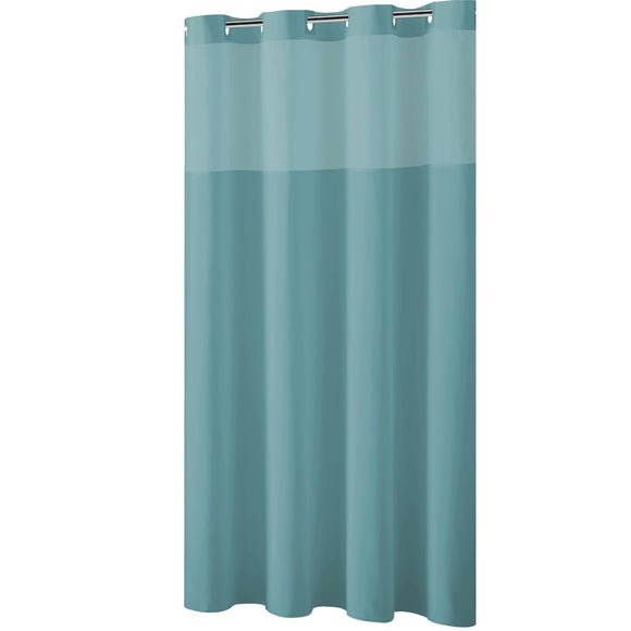 Hookless® Shower Curtain Plain Weave Teal blue Blue Solid Color Victorian Polyester - Diamond Home USA