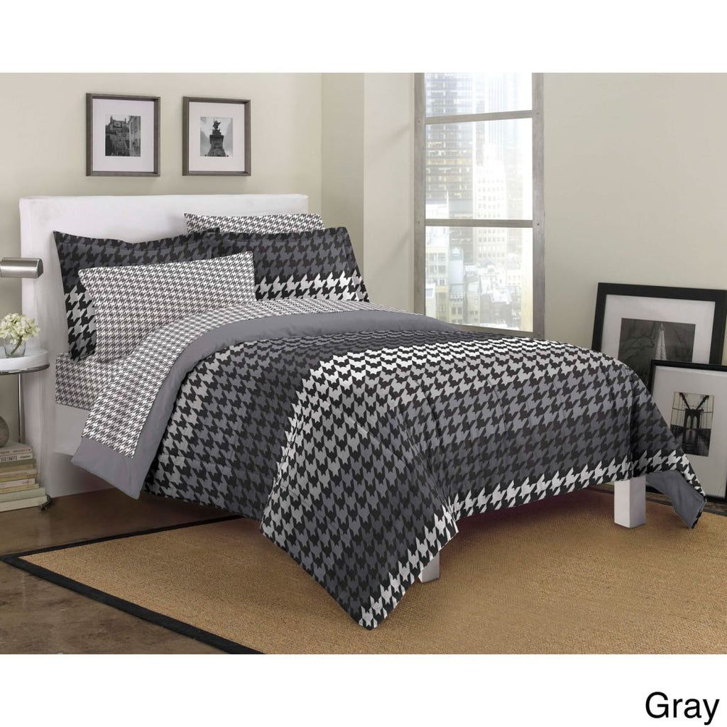 Shades Houndstooth Comforter Set Abstract Bedding Artistic Horizontal Pattern Look Art Medium Dorm College Microfiber