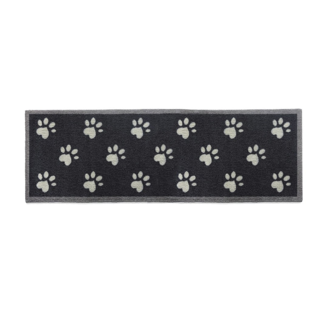 "1'8""x4'11"" Black Grey Dog Paws Printed Runner Rug Indoor Graphical Pattern Living Room Rectangle Carpet Graphic Art Themed Vibrant Color Soft - Diamond Home USA"