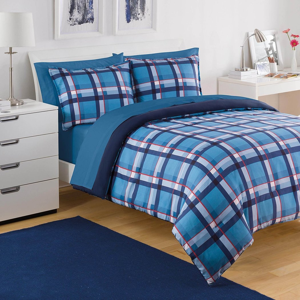 Boys Plaid Comforter Set Striped Square Bedding Crossing Stripes Squared Pattern Checkered Design Patchwork Stylish ttern