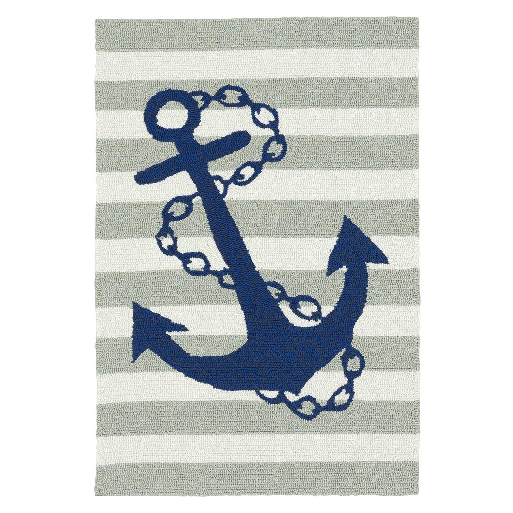 Ln 1 Piece 2 x 3 Grey Ivory Striped Blue Anchor Area Rug Rectangle IndoorOutdoor Nautial Boat Anchor Carpet Mat Sailor Pattern Boating Coastal Sea Stripes Fishing Ocean Cottage Polypropylene - Diamond Home USA