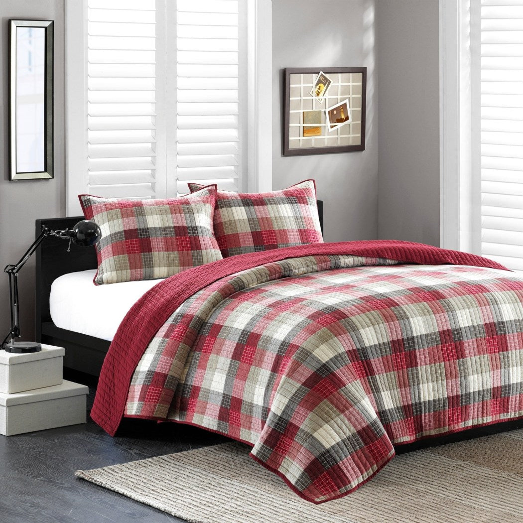 Plaid Quilt Set Tartan Checked Pattern Bedding Cabin Lodge Themed Madras Checkered Squares Southwest Patchwork