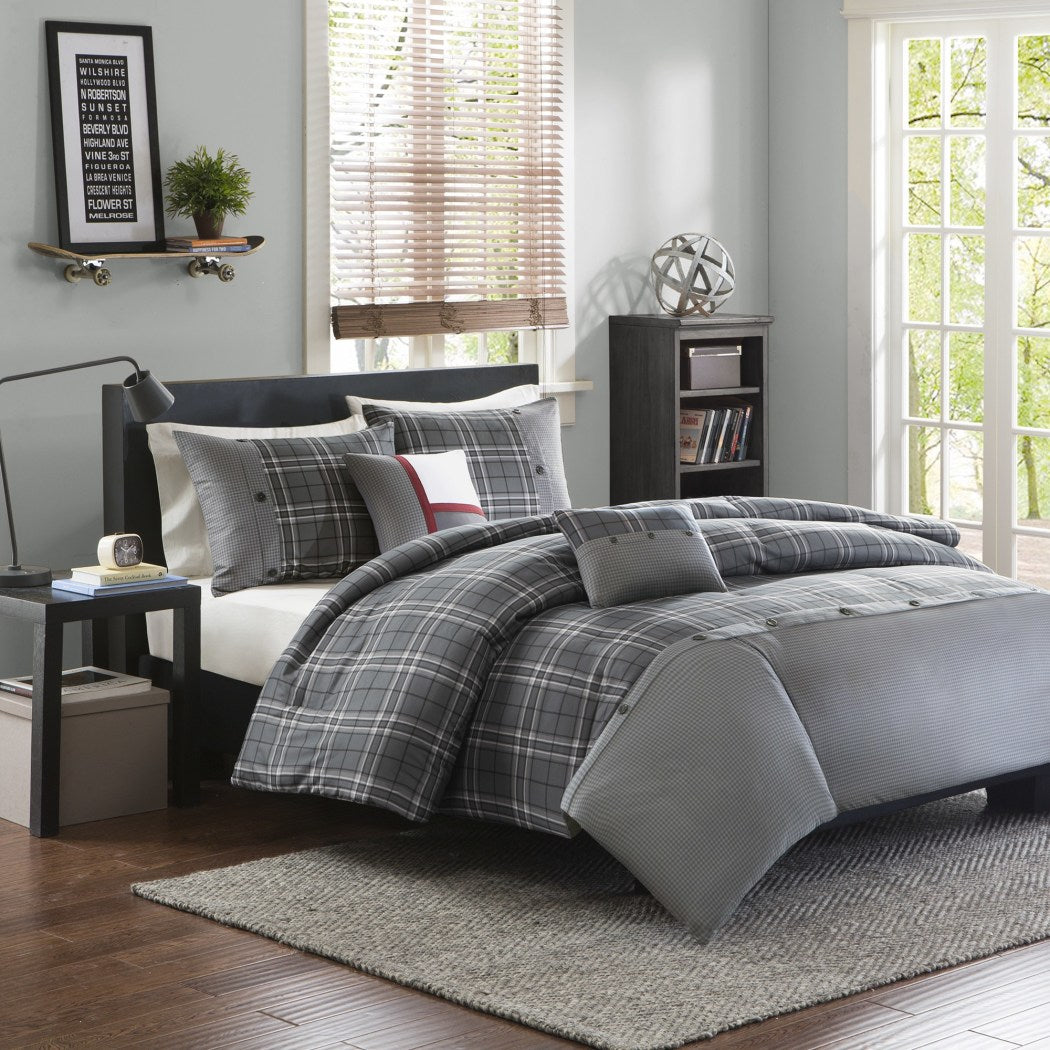 Plaid/Cal Duvet Cover Set Vibrant Ljack Cabin Country Themed Lodge Checkered Bedding Woods Tartan Madras Checked Squared