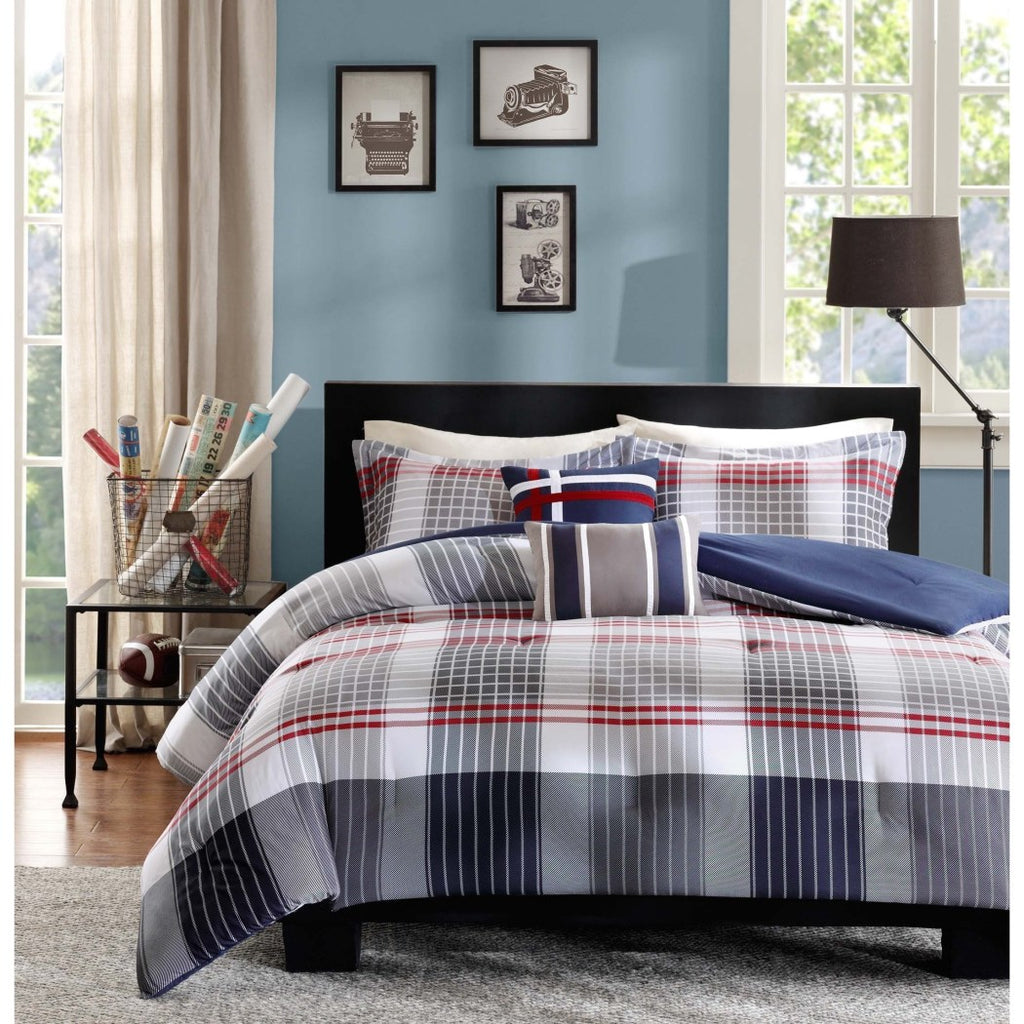 Boys Madras Glen Plaid Theme Comforter Set Stylish Tartan Check Plaided Bedding Horizontal Vertical Stripe Lodge Cabin Themed Pattern