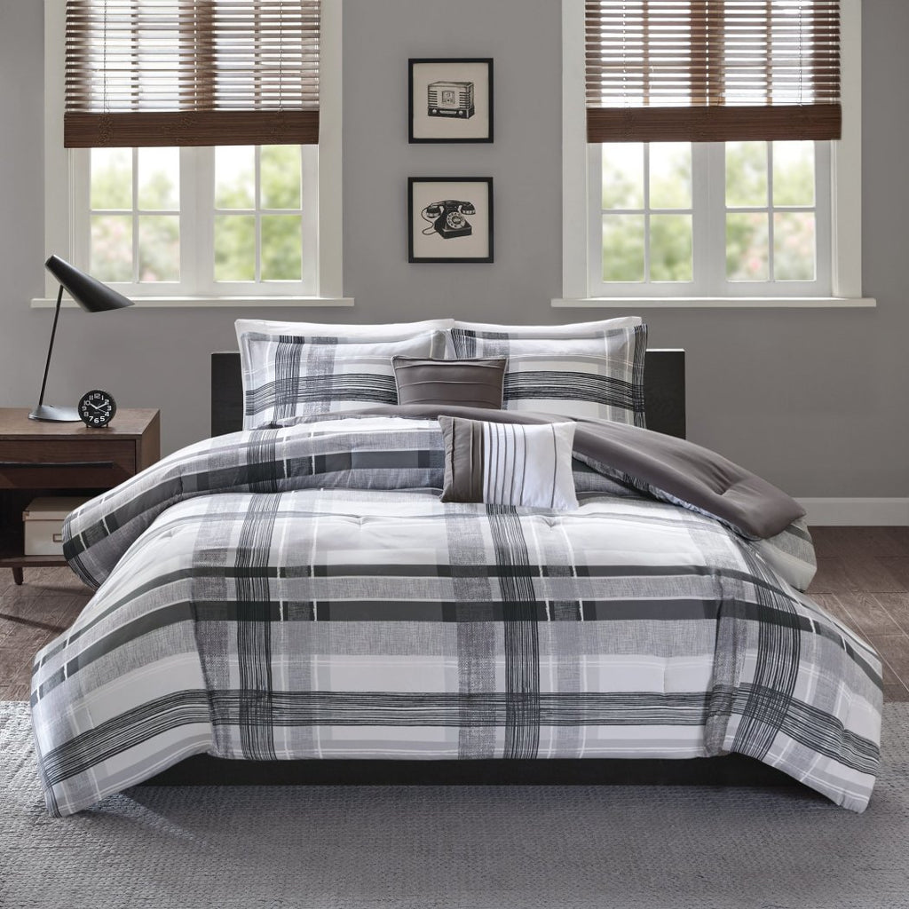 Plaid Checkered Comforter Set Bold Line Pieced Pattern Adult Bedding Master Bedroom Casual