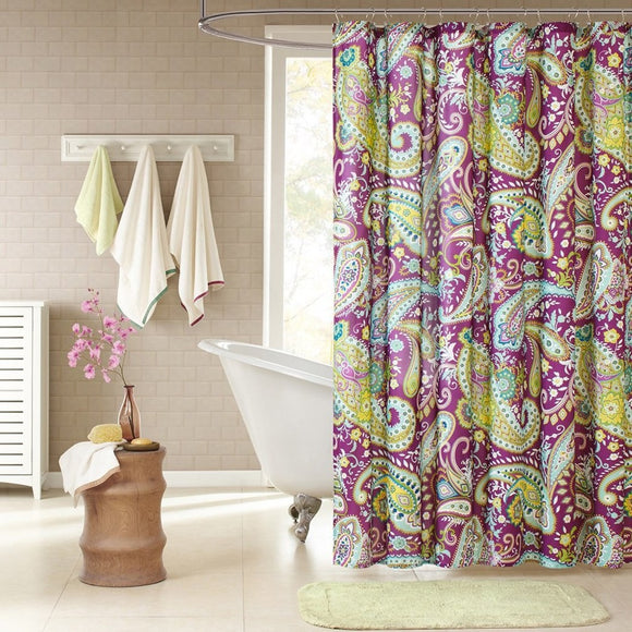 Girls Blue Yellow Green Purple Paisley Shower Curtain Bohemian Bathroom Pattern Vibrant Colors Hippy Colorful Florals Themed Polyester Microfiber - Diamond Home USA
