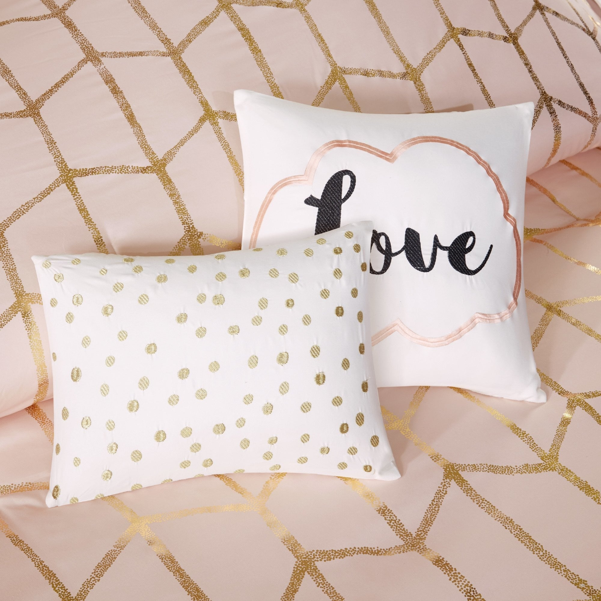 Geometric Shape Duvet Cover Set Modern Chic Polkadot Comb Themed Bedding Contemporary Polkadot Trellis Line Scale Pattern Polyester