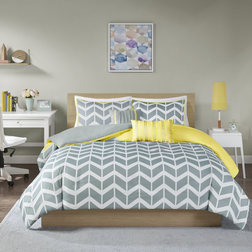 Chevron Duvet Cover Set Vertical Stripes Adult Bedding Master Bedroom Stylish Geometric Zigzag Pattern Elegant
