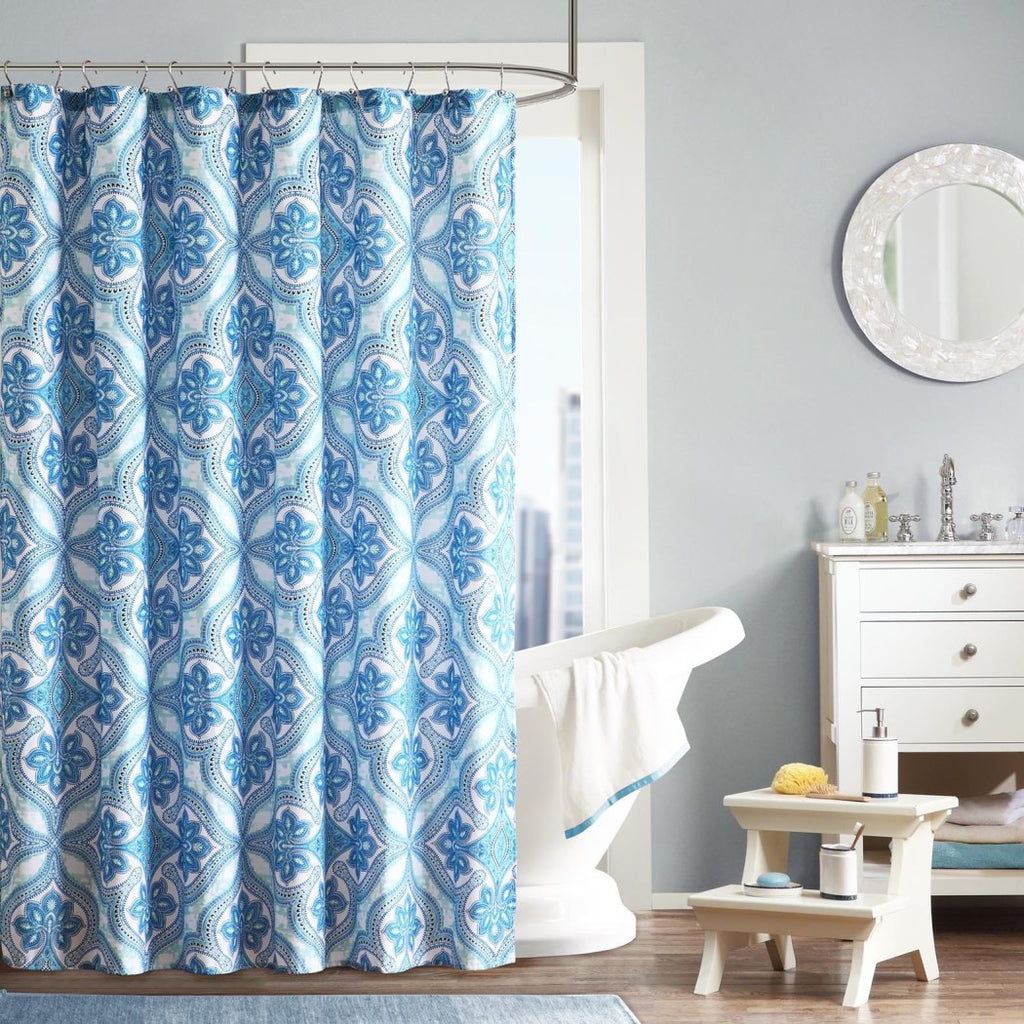 Ocean Blue Geometric Pattern Shower Curtain Polyester Abstract Graphical Themed Detailed Colorful Glacial Flowers Printed Modern Elegant Design - Diamond Home USA