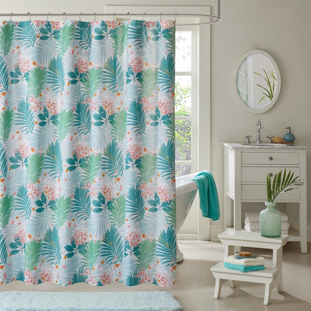 Green Aqua Blue Graphical Nature Themed Shower Curtain Polyester Lightweight Detailed Flower Palm Leaf Printed Abstract Floral Pattern Classic Elegant - Diamond Home USA