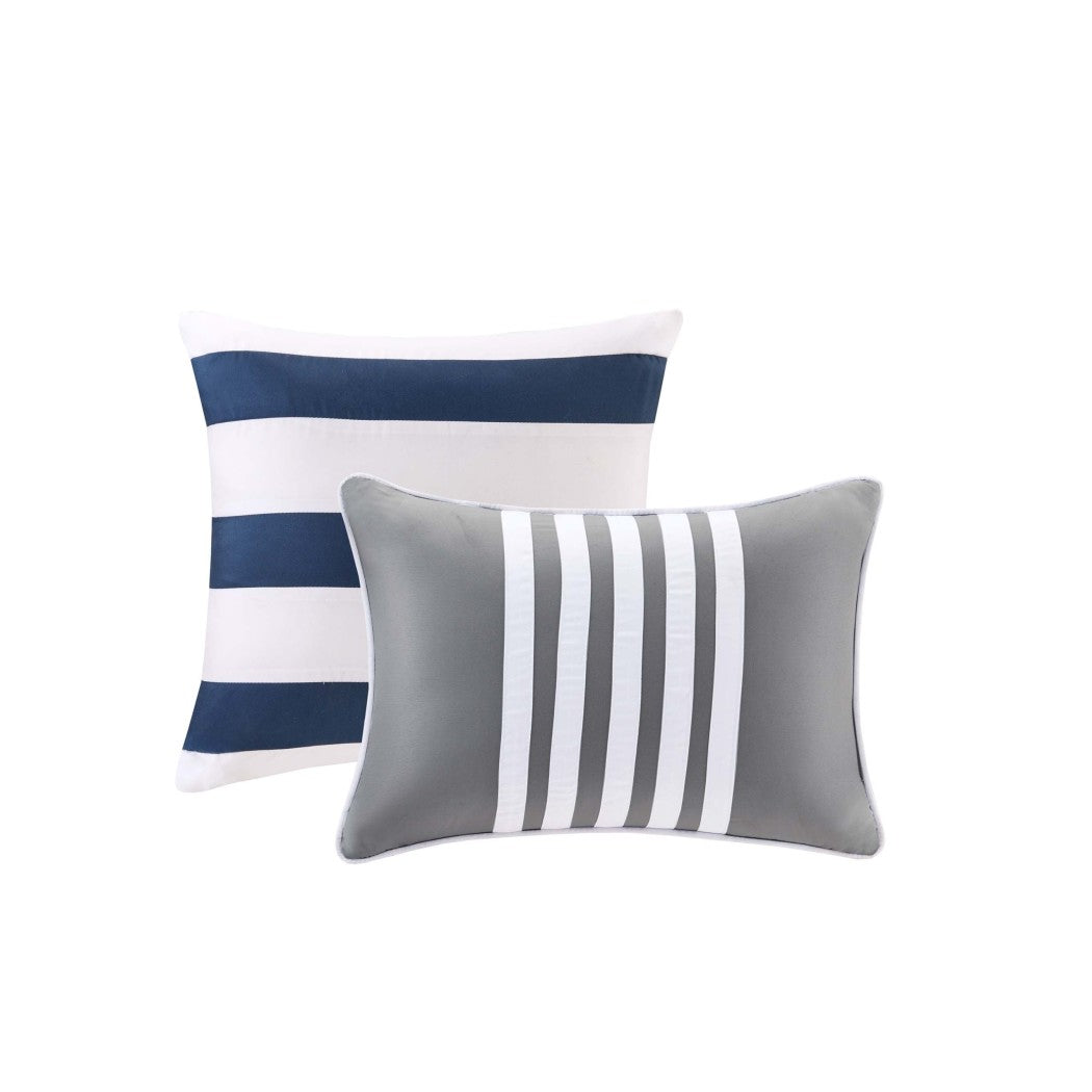 Boys Stripes Comforter Set Horizontal Striped Bedding Rugby Stripe Sports Themed Nautical Pattern Modern Lines Pattern Dorm College Polyester