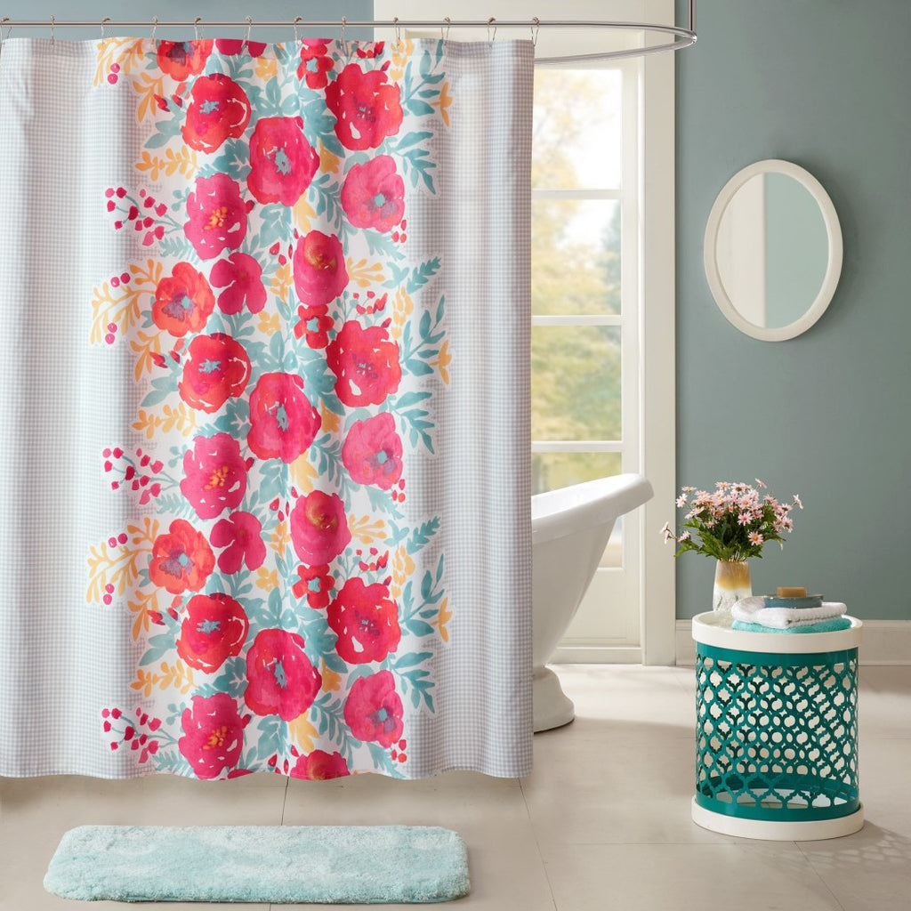 Red Pink Blue Graphical Nature Themed Shower Curtain Polyester Lightweight Detailed Centered Flowers Motif Printed Abstract Floral Pattern Classic - Diamond Home USA