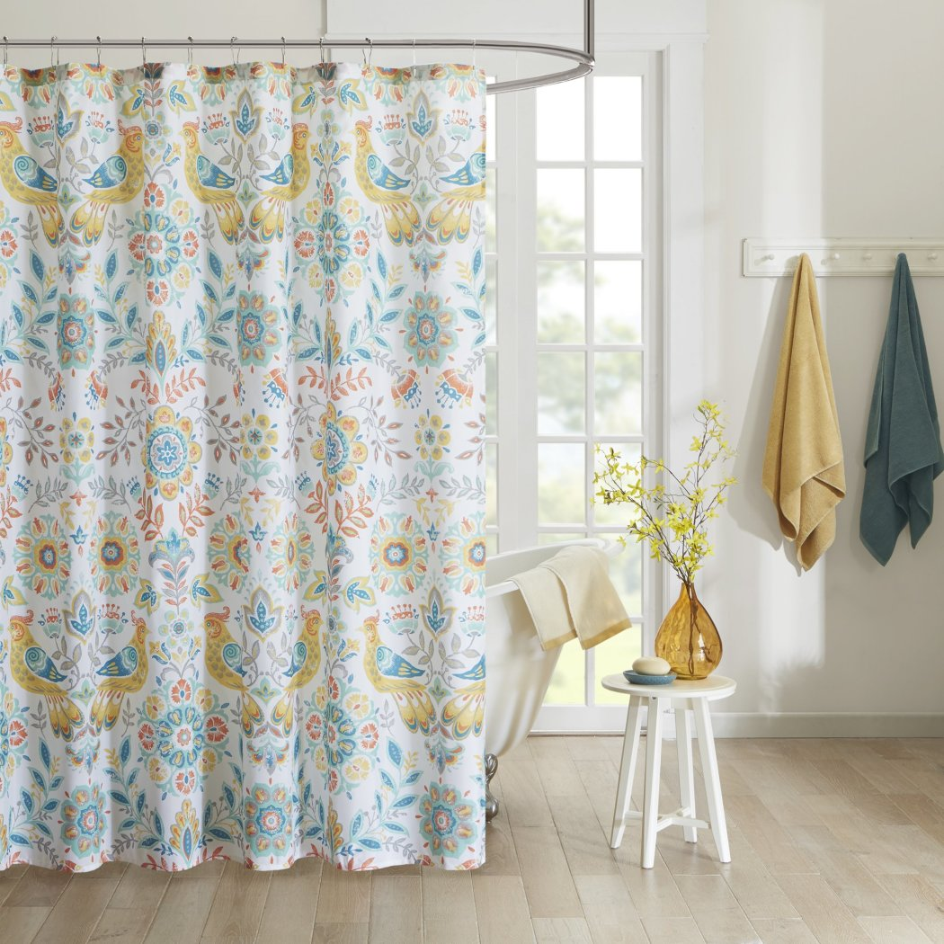 Yellow Blue Red Graphical Nature Themed Shower Curtain Polyester Lightweight Detailed Bohemian Flowers Printed Abstract Floral Pattern Classic Elegant - Diamond Home USA
