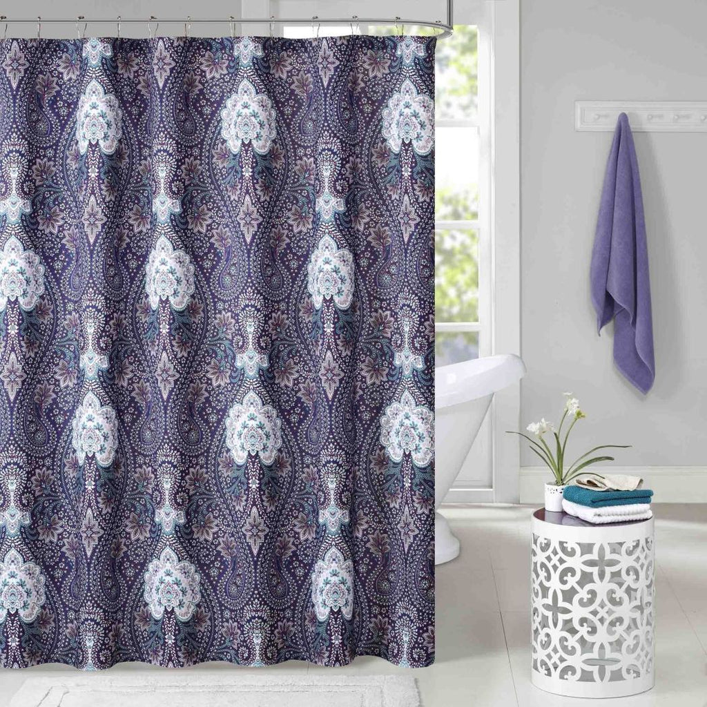 Purple White Paisley Damask Floral Motif Themed Shower Curtain Polyester Lightweight Detailed Bohemian Flower Printed Abstract Floral Pattern Elegant - Diamond Home USA