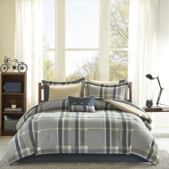 Plaid Checkered Comforter Set Rugby Stripes Bold Box Line Pieced Pattern Adult Bedding Master Bedroom Casual Modern