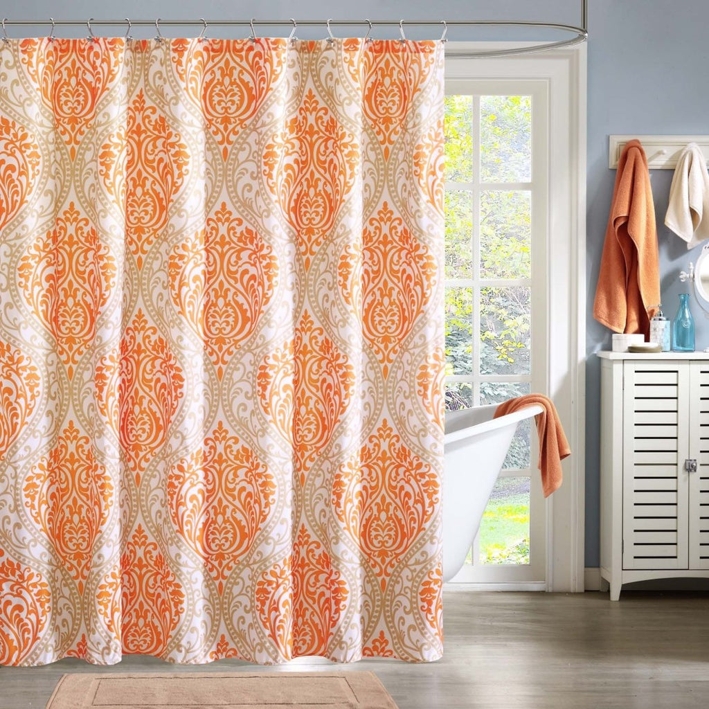 Orange Floral Pattern Shower Curtain Polyester Detailed Bohemian Floral Themed Colorful Flowers Printed Classic Elegant Design Indie Hippie All - Diamond Home USA