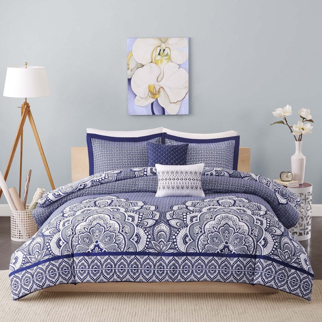 Medallion Duvet Cover Set Bohemian Themed Floral Moroccan Mandala Pattern Geometric Design Large Motif Adult Bedding