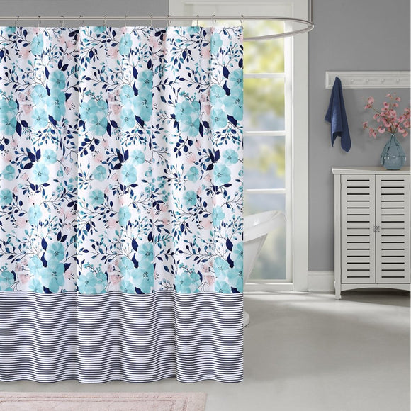 Aqua Blue Navy Blue Graphical Nature Themed Shower Curtain Polyester Lightweight Detailed Flower Leaf Stripes Printed Abstract Floral Pattern Classic - Diamond Home USA
