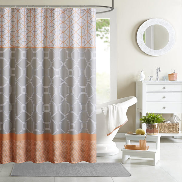 Geometric Themed Shower Curtain Artistic Work Pattern Adorable Stripes Design Gorgeous Stylish Look Colorful Graphic Orange White Grey - Diamond Home USA