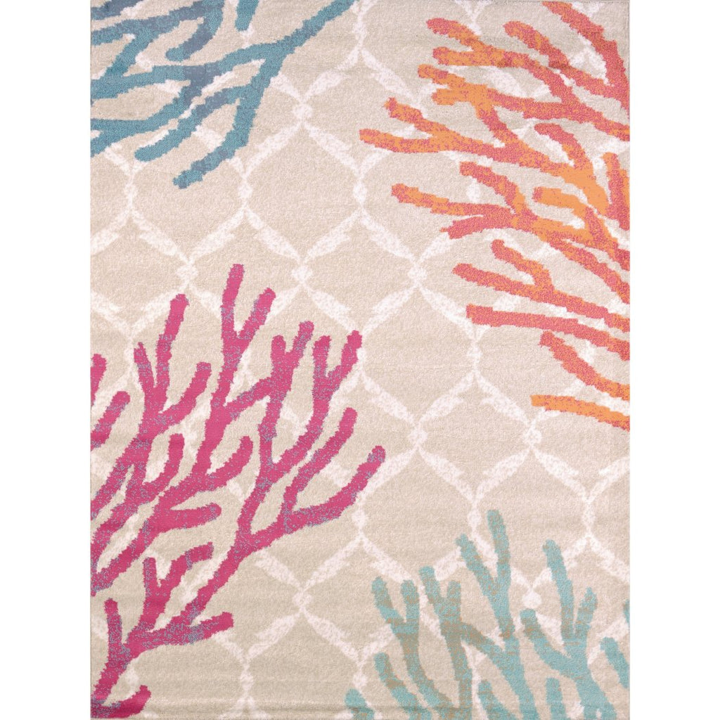"2'7""x3'11"" Pink Blue Orange Coral Sea Plants Printed Runner Rug Indoor Graphical Pattern Living Room Rectangle Carpet Sea Beach Themed Vibrant Color - Diamond Home USA"