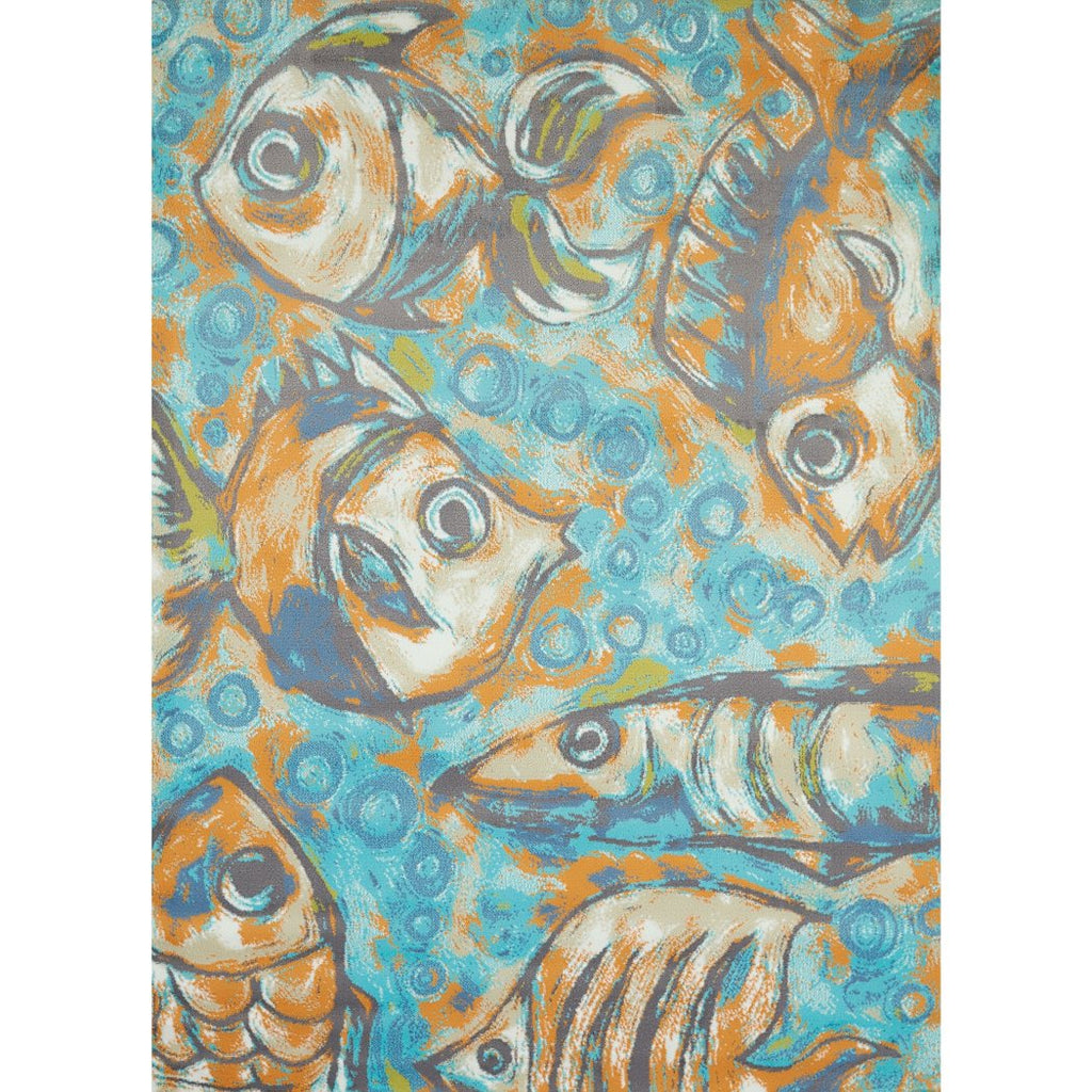 5' x 7' Blue Grey Orange Green Fishermans Reef Area Rug Rectangle Indoor Nautical Fish Bubbles Carpet Mat Abstract Pattern Wildlife Coastal - Diamond Home USA