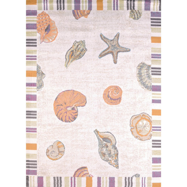 "1'10""x3' Kids Light Pink Purple Orange Seashell Starfish Oyster Sealife Printed Runner Rug Indoor Graphical Pattern Living Room Rectangle Carpet Sea - Diamond Home USA"