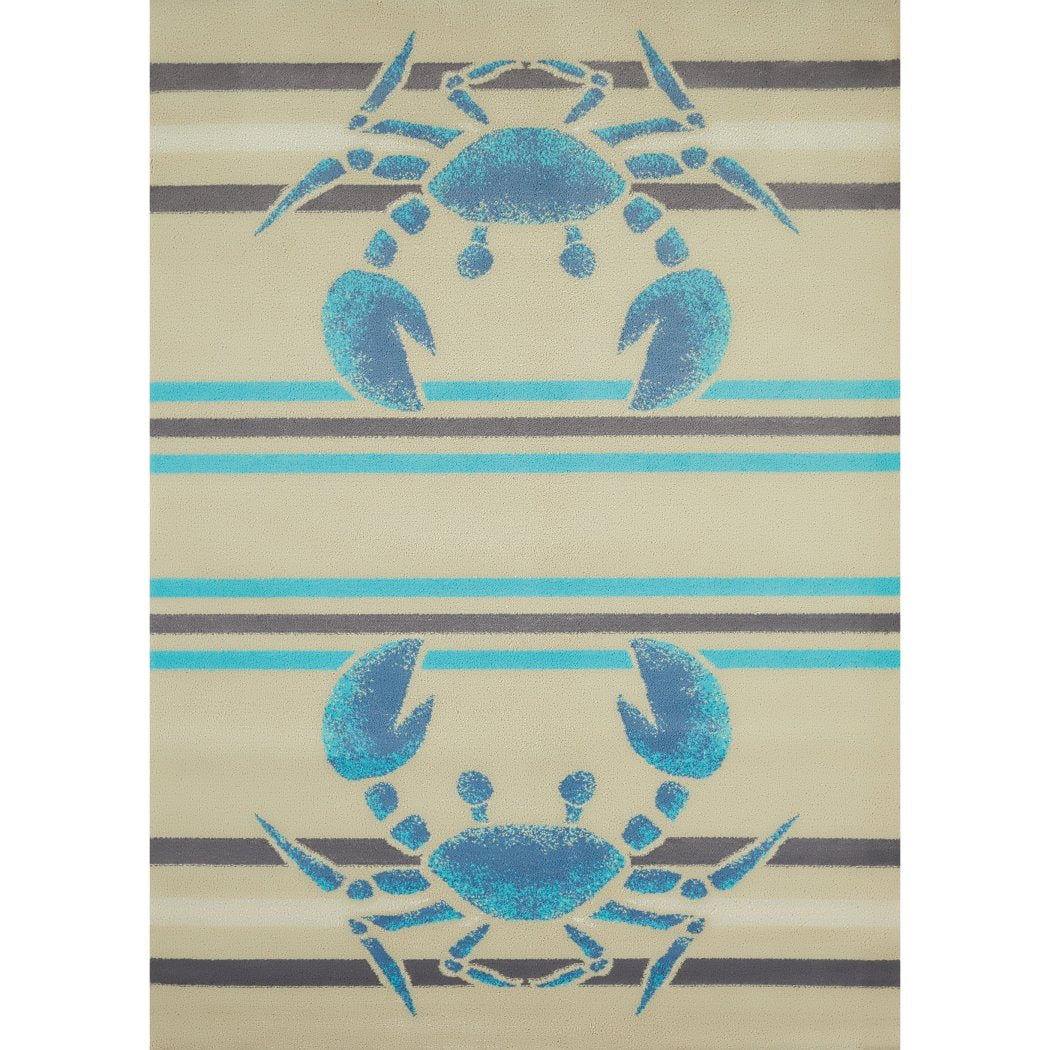 5'3x7'2 Blue Grey Nautical Crab Area Rug Rectangle Shaped Indoor Beige Ocean Lobster Carpet Living Room Coastal Floor Mat Beach Sea Life Cottage - Diamond Home USA